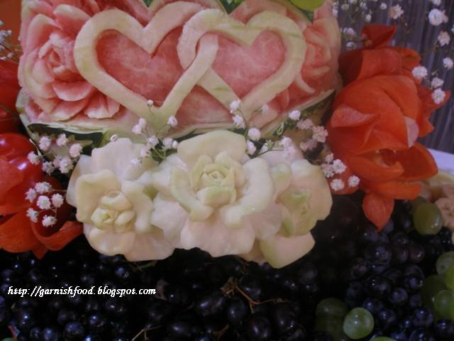vegetable carving flowers wedding display