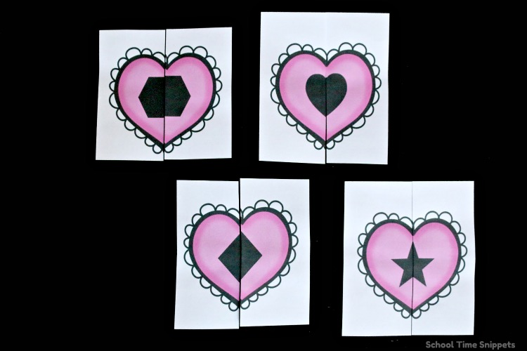 Heart Shape Matching Puzzles FREE Printable