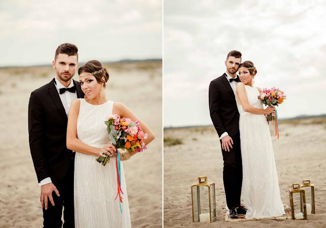 Zwiewna suknia ślubna.
