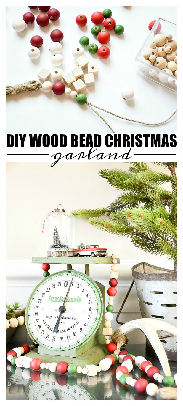 wood bead garland, christmas, christmas decor, garland