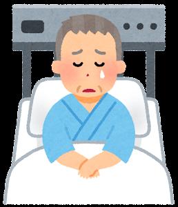 いろいろな表情の入院中の人のイラスト(おじいさん・泣いた顔)