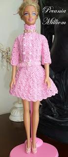 Casaco Feminino de Crochê Com Saia Godê Para Barbie Por Pecunia MillioM