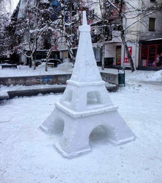 Bild des Tages - Schneekunst in Skopje
