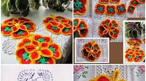 Ideas y patrones de cuatro modelos de flores al crochet