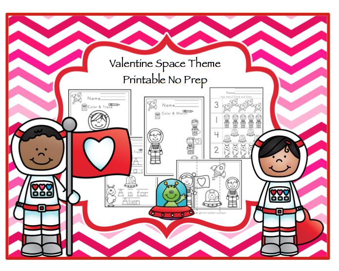 Valentine Space Theme Printable No Prep