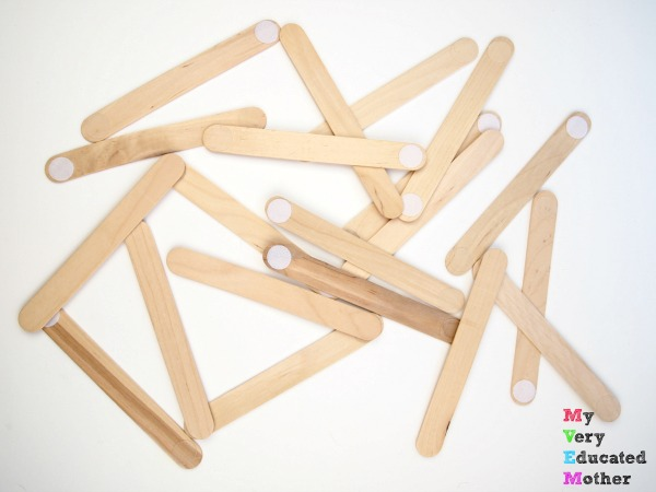 Make 7 Busy Bags Using Craft Sticks: Building with Velcro Sticks