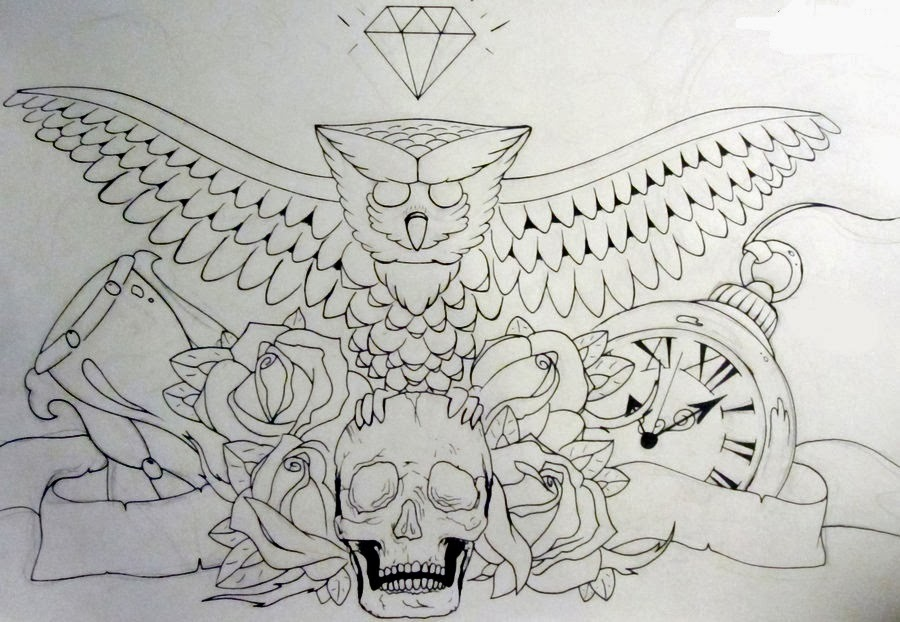Owl skull and roses tattoo stencil