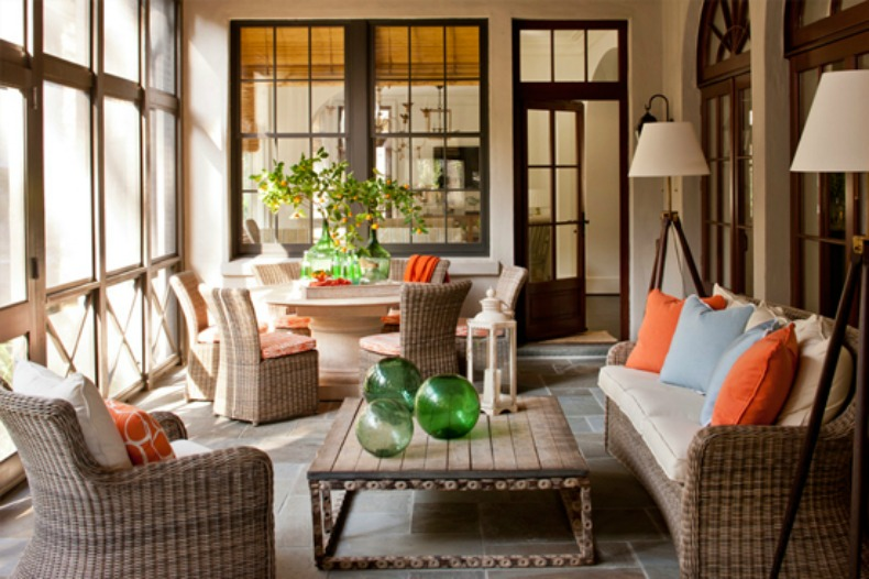 wicker, coral and aqua, coastal lanai