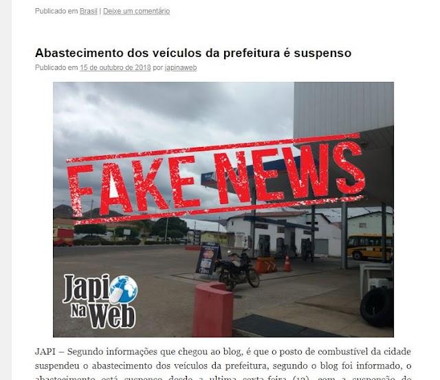Fake News - Abastecimento dos veículos da prefeitura é suspenso
