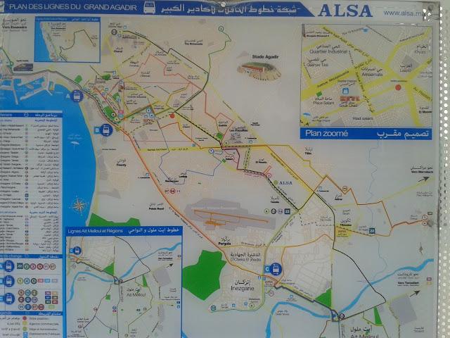 Plan des lignes périurbaines Alsa Agadir