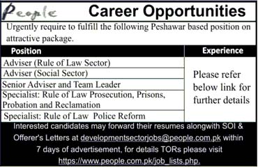 Jobs in People Organization in Peshawar 2019
