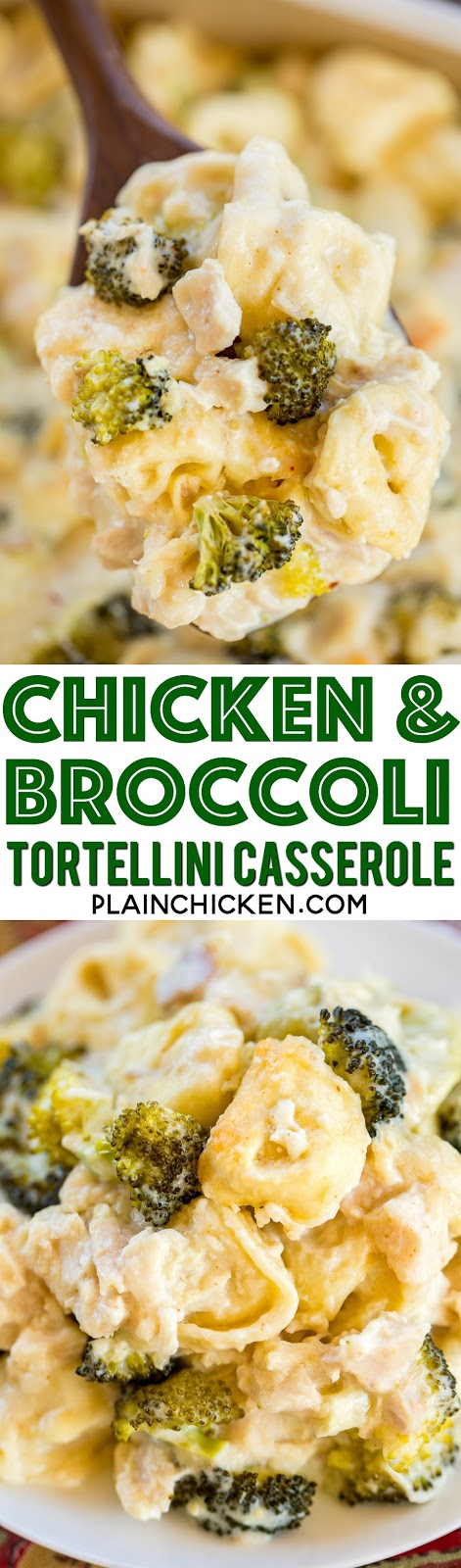 Chicken and Broccoli Tortellini Casserole - comfort food at its best! Chicken, broccoli and tortellini tossed in a quick white sauce and topped with parmesan cheese. The whole family cleaned their plate! Even our picky eaters!! Chicken, broccoli, tortellini, butter, flour, garlic, chicken broth, half-and-half, onion and red pepper. Can make ahead and freeze for later. Great easy weeknight dinner casserole recipe! #casserole #freezermeal #chickendinner #chickencasserole #kidfriendly