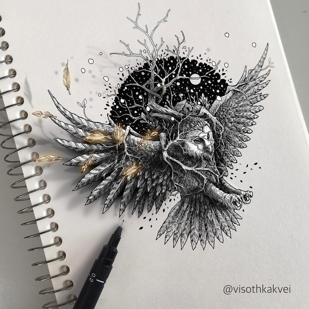 02-3D-Owl-Visoth-Kakvei-Intricate-Doodles-that-include-Optical-Illusions-www-designstack-co