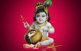 Baby Krishna  wallpaper In Red Background