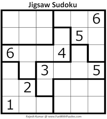 Jigsaw Sudoku Puzzle (Mini Sudoku Series #109)