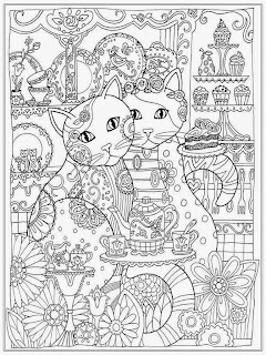 Couple Cat Adult Coloring Pages Free
