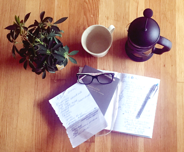 French press, coffee, lists, grocery list, plants, glasses, pens, journals, wood