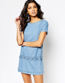 Denim shift dress, $76.24 from River Island