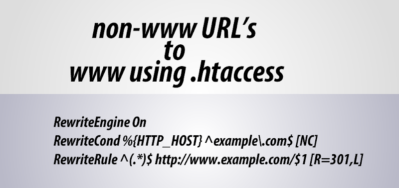 How to redirect non-www URL's to www using .htaccess