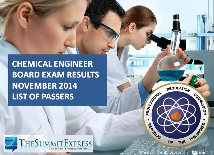 Chemical Engineer board exam results November 2014