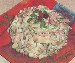 Простой в приготовлении салатик с ветчиной