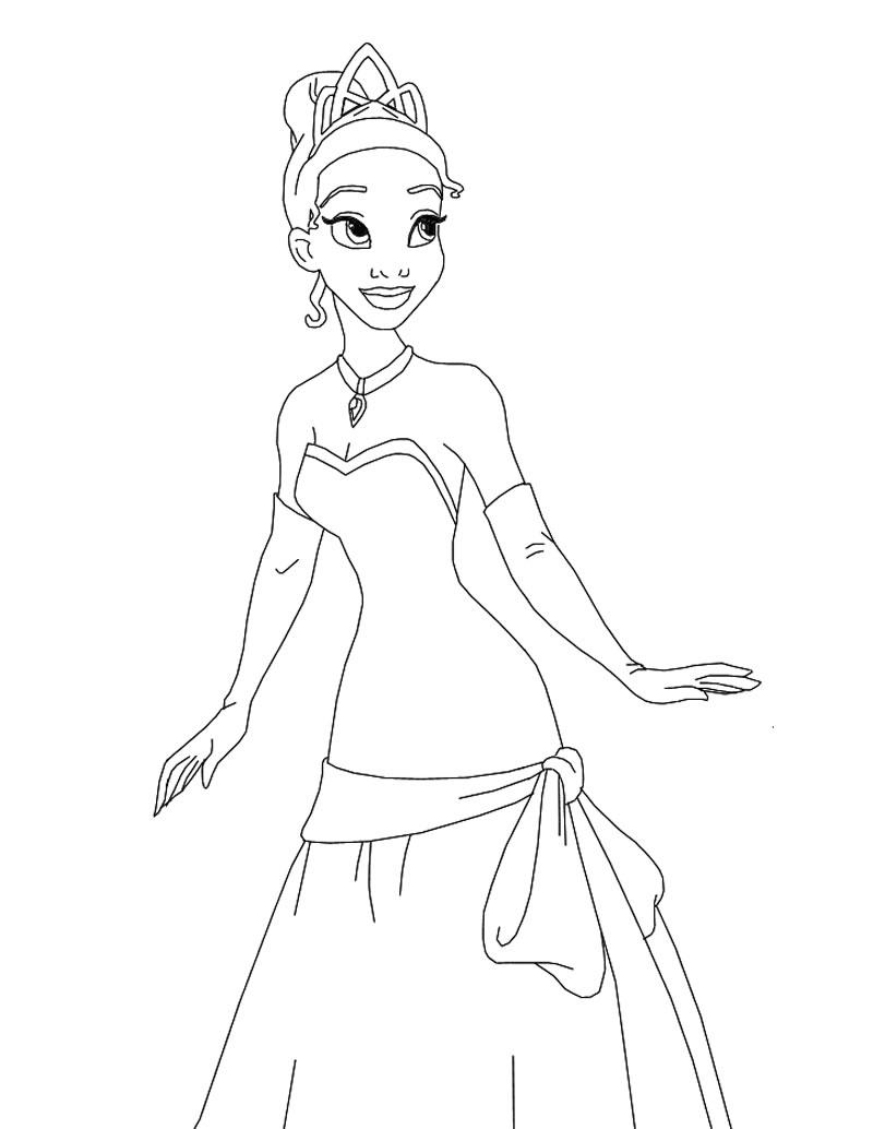 Disney Movie Princesses Tiana Coloring Pages