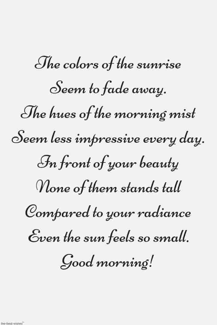 good morning poem to express her beauty