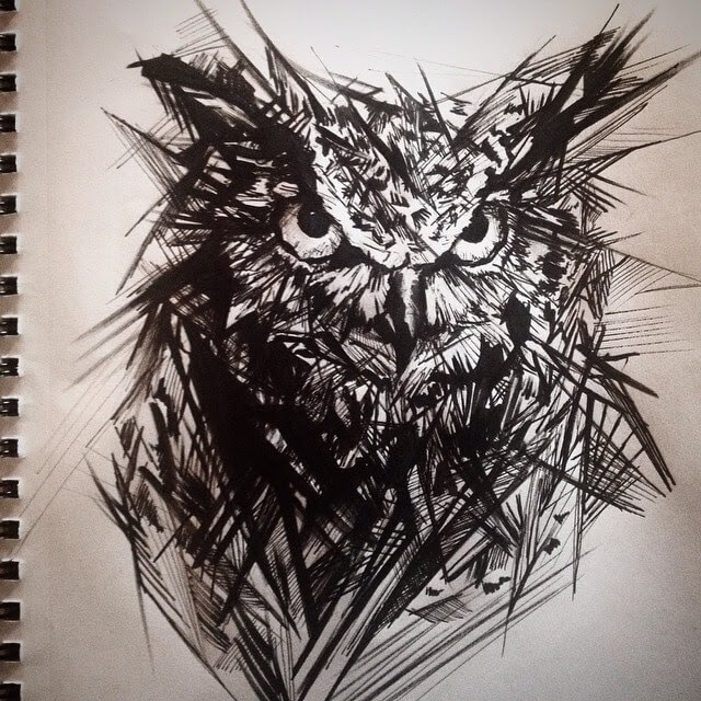 08-Owl-Pen-Sketch-Matthew-McHugh-Animal-Drawings-and-Surreal-Interpretations-www-designstack-co