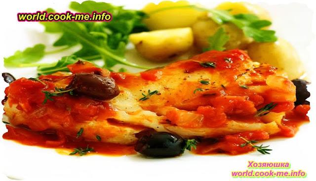 Рыба жаренная с помидорами по-провански