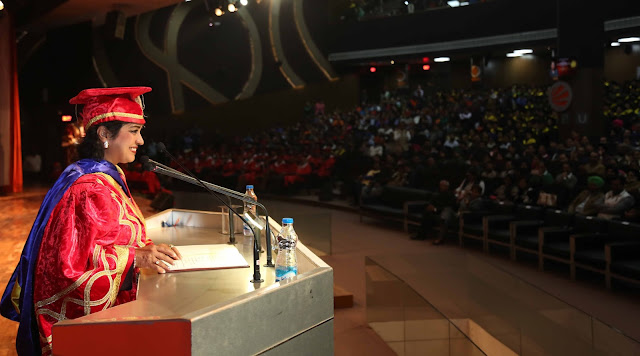 Her Excellency Dr Ameenah Gurib-Fakim, President of the Republic of Mauritius addressing the students during 7th Convocation at LPU