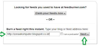 Halaman saat memasukkan alamat blog