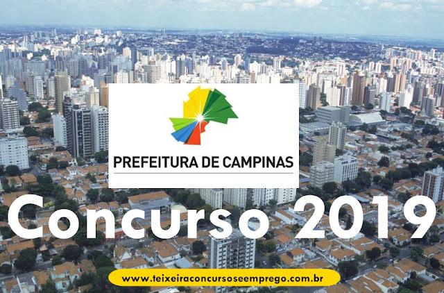 Prefeitura de Campinas vai realizar concurso com 266 vagas em 2019