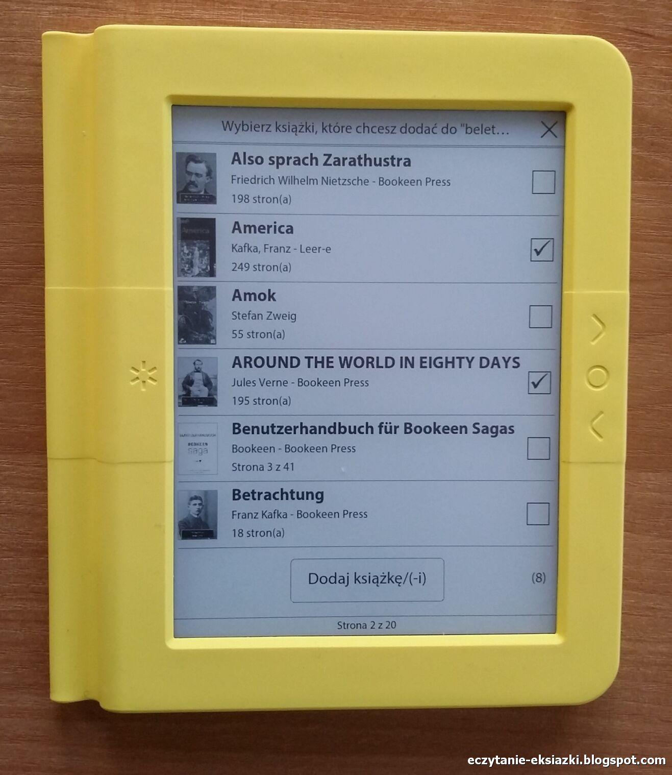 Bookeen Saga - dodawanie książek do kolekcji