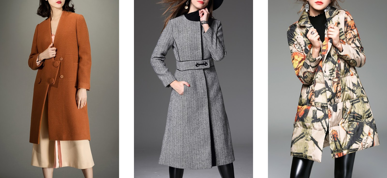 rosegal, online fashion, coats, v neck wool coat, printed padded coat, back slit coat