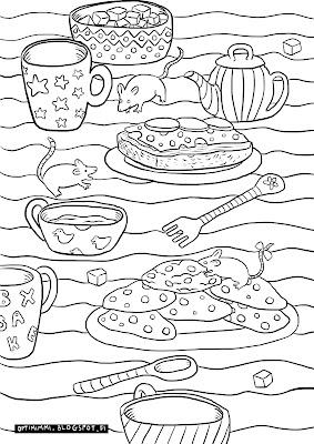 A coloring page of mice, mugs and cookies / Värityskuva hiiristä, mukeista ja kekseistä