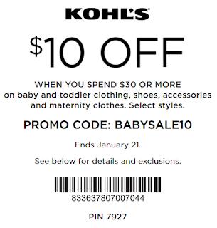 Kohls coupon $10 Off $30 Baby & toddler clothing