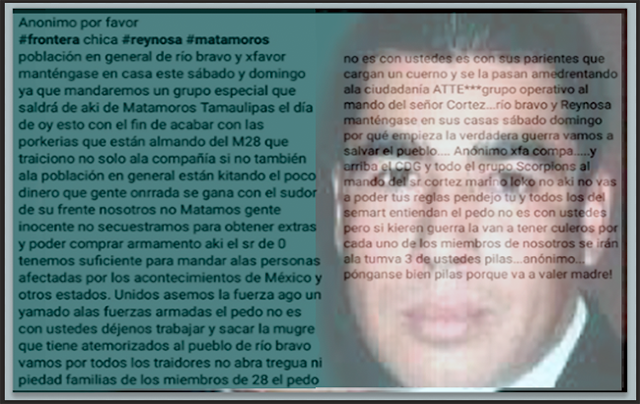 PRESUNTO MENSAJE de CDG-MATAMOROS AMENAZA a la MARINA
