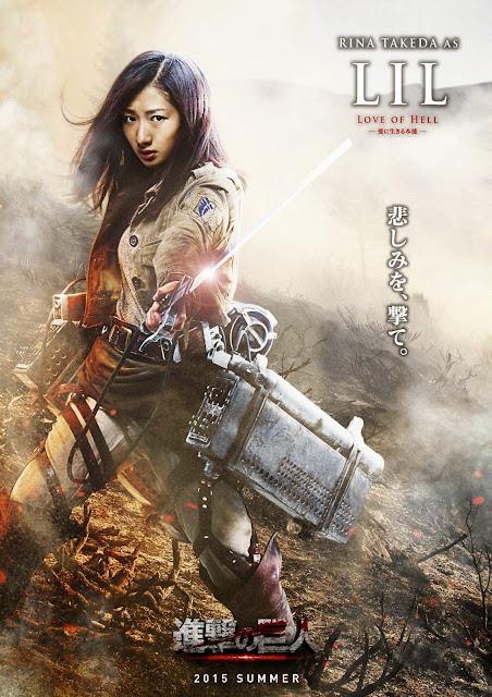 Plakat z filmu Attack on Titan na którym jest Rina Takeda jako Lil