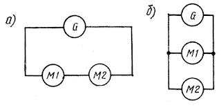 Включение якорей гребных электродвигателей при работе от одного генератора