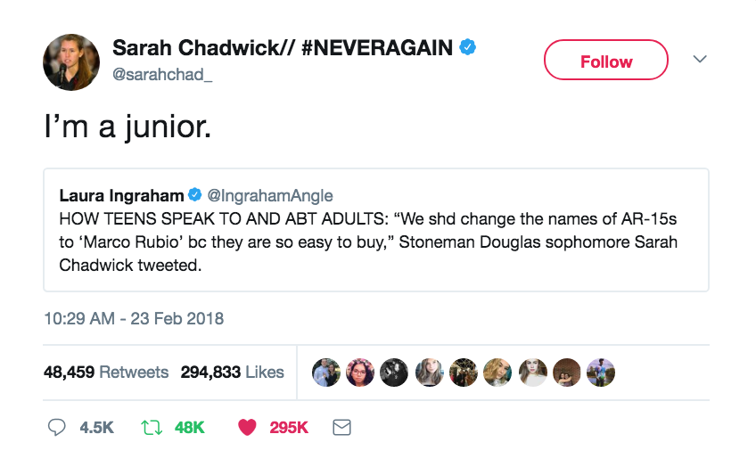 Gun Control Sarah Chadwick responds to Laura Ingraham. Thoughts and Prayers. marchmatron.com