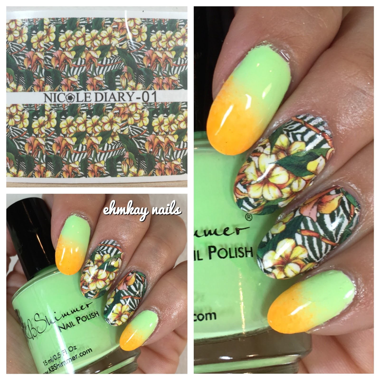 ehmkay nails: Nicole Diary Tropical T-Shirt Water Decals with Neon ...