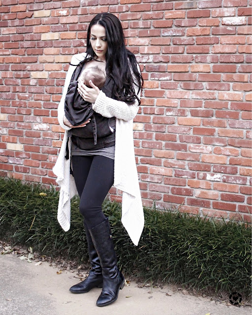 Cute and cozy mom life fashion, wearing an ivory waterfall cardigan paired with comfy leggings and the cutest black riding boots www.MalenaHaas.com