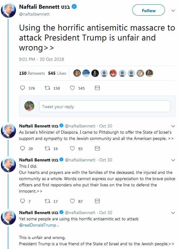 Bennett came to the US to defend Trump and Israel not console the Jews of  Pittsburgh ef78b907ccb22
