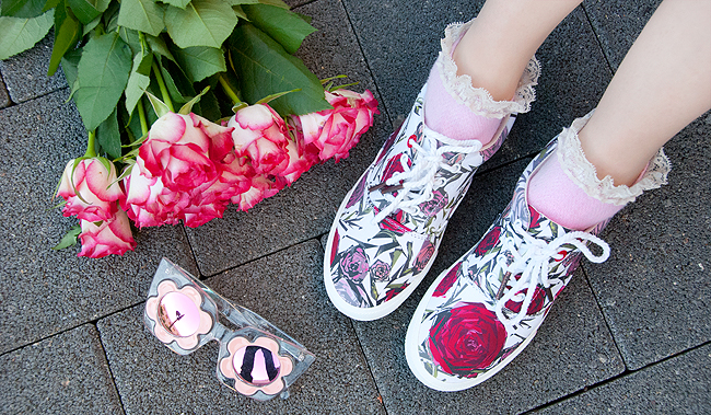 BucketFeet, artist designed sneakers, rose print shoes