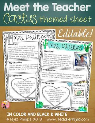 Meet the Teacher Letter - Editable Template - Cactus Theme