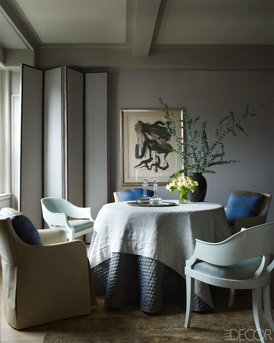 dining room ,dinig area, eclectic chair grouping, decorative screen, black and white art