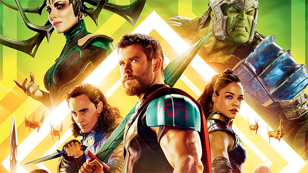 image of some of the primary characters from the film 'Thor: Ragnarok'