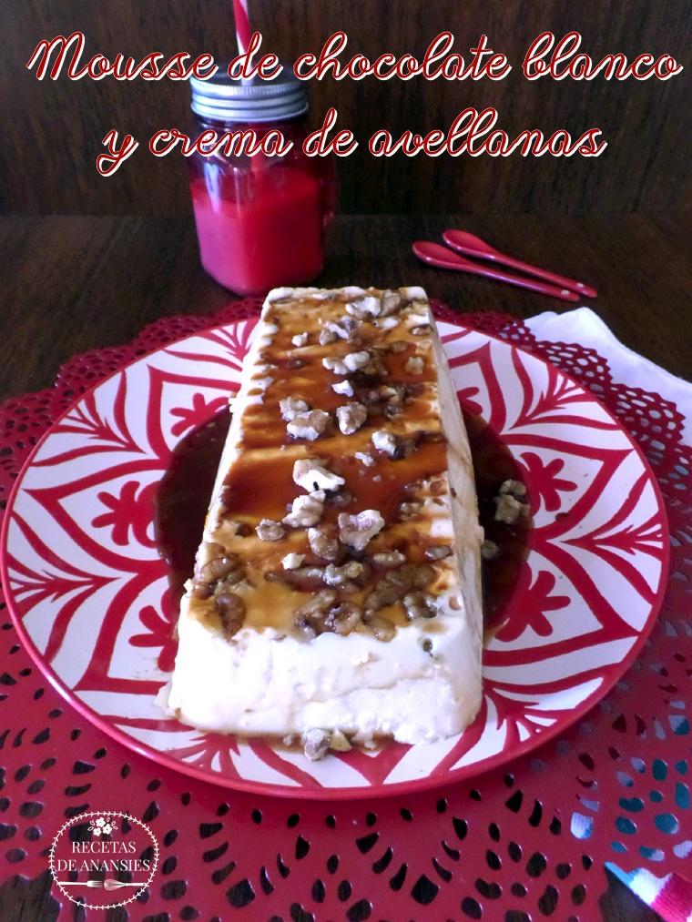 Mousse de chocolate blanco y crema de avellanas
