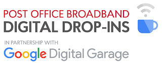 A white rectangular box with Post Office Broadband Digital Drop In in bold font with a wifi logo at the side of it with with Google Digital Garage below in soft raimbow coloured font on a white background.