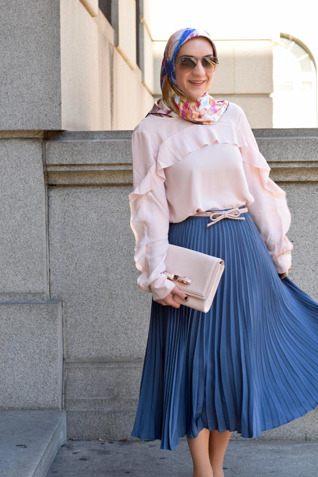 A Day In The Lalz; Pleated Blue Midi Skirt; Ruffle-Front Blouse; Rose Quartz and Serenity; Ted Baker Pink Clutch; Bow Belt; Fashion Blogger; Midi Skirt; Hijabi; Modest Fashion;